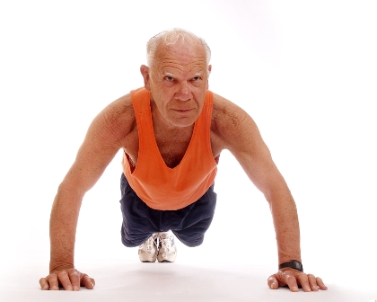 old dude doing push ups